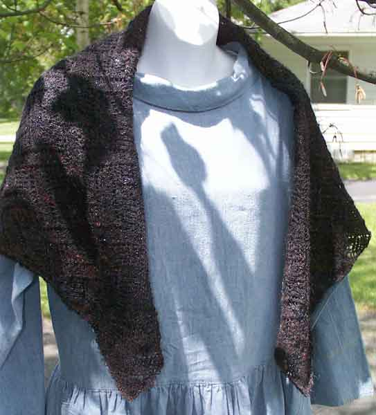 Black Ice Square Shawl (front view)